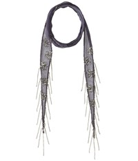 Chan Luu Viscose Chiffon Floral Beaded Skinny Scarf Grisalle Scarves Black