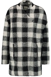 Joie Cyrene Checked Wool Blend Coat Black