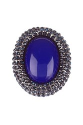 Kenneth Jay Lane Lapis Center Pave Ring Blue