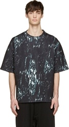 D By D Black And Green Neoprene Marble Print T Shirt