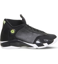 Nike Air Jordan 14 Retro Leather High Top Trainers Black White Green