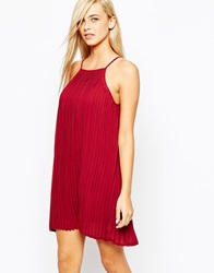 Fashion Union Pleated Swing Dress With Halter Neck Berryred