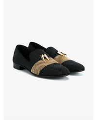 Giuseppe Zanotti Studded Leather Loafers Black Denim