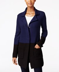 Styleandco. Style Co. Colorblocked Sweater Jacket Only At Macy's Ind Blue Black