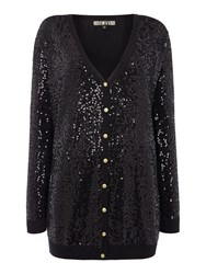 Biba Fully Sequin Button Up Cardigan Black