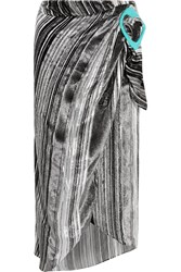 J.W.Anderson Striped Devore Velvet Midi Skirt Metallic