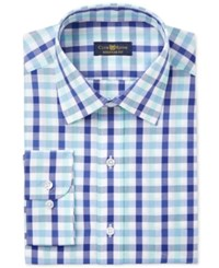 Club Room Men's Classic Fit Wrinkle Resistant Mint Blue Gingham Dress Shirt Only At Macy's