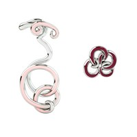 1986 Wiggle Wiggle Twist And Hug Earrings Baby Pink And Rhodium Red Silver