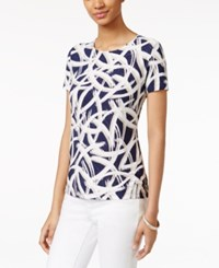 Jm Collection Textured Tee Crescent Print Blue White