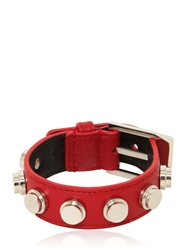 Saint Laurent Studded Leather Small Cuff Bracelet Red