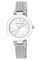 Anne Klein Crystal Accent Mesh Strap Watch 30Mm Silver
