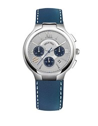 Philip Stein Teslar Mens Stainless Steel And Leather Chronograph Watch Navy