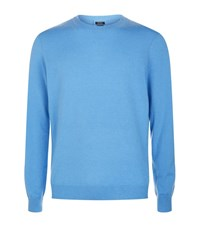 Boss Slim Fit Knit Jumper Male Sky