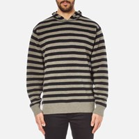 Alexander Wang Men's Striped Hoodie Pullover With Embroidered Artwork Hemp Black