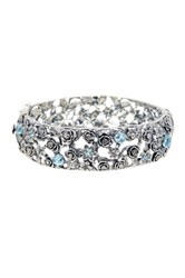 Sterling Silver Blue Topaz Flower Garden Bangle Multiple Lengths Available