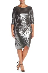 Plus Size Women's Eloquii Metallic Silver Knot Knit Dress