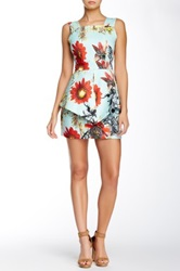 Gracia Tropical Print Peplum Dress Blue