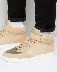 Criminal Damage Courtside Mid Top Trainer Beige