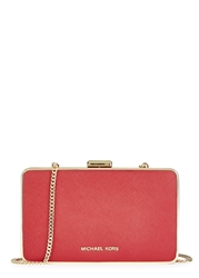 Michael Kors Elsie Red Saffiano Leather Box Clutch
