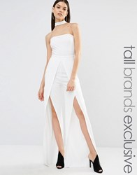 Naanaa Tall Split Leg Halter Jumpsuit White