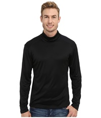 Hot Chillys Peach Solid Roll T Neck Black Men's Long Sleeve Pullover