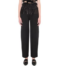 Yulia Kondranina Ruched Waist Wool Blend Trousers Black