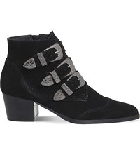 Office Jagger Suede Buckled Ankle Boots Black Suede