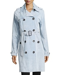 Neiman Marcus Suede Double Breasted Trench Coat