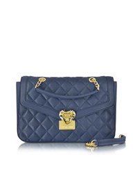 Love Moschino Heart Quilted Eco Leather Shoulder Bag Navy