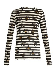 Proenza Schouler Stripe And Floral Print Long Sleeved T Shirt Black Multi
