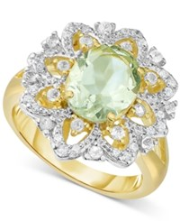 Victoria Townsend Green Amethyst 2 2 5 Ct. T.W. And White Topaz Accent 1 4 Ct. T.W. Ring In 18K Gold Plated Sterling Silver
