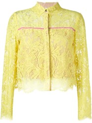 Msgm Lace Cropped Blouse Yellow And Orange