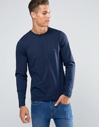 Tommy Hilfiger Long Sleeve Top With Flag Logo In Navy 08578A0256
