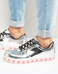 Wize And Ope Led Metallic Low Trainers Silver