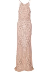 Mikael Aghal Embellished Tulle Gown Nude
