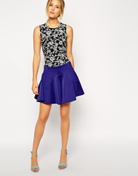 Asos Skater Skirt With Panelled Seams Blue
