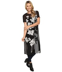 Vince Camuto Short Sleeve Floral Screen Panel Long Tunic Rich Black Women's Blouse