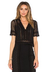 Rebecca Taylor Short Sleeve Lace Crochet Top Black