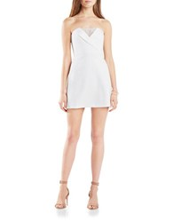 Bcbgmaxazria Strapless Lace Inset Sweetheart Dress White