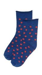 Plush Thin Rolled Fleece Polka Dot Socks Navy Red
