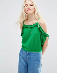 Asos Knitted Top With Ruffle Off Shoulder Green
