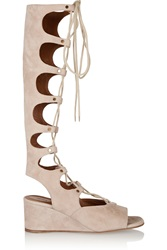 Chloe Lace Up Suede Wedge Sandals