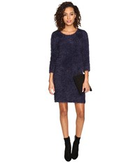 Bb Dakota Laurentia Eyelash Sweater Dress Navy Women's Dress