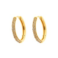 Monet Gold Pave Crystal Hoop Earrings