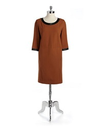 Lord And Taylor Petite Ponte Shift Dress With Faux Leather Trim Cashew