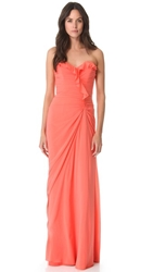 Badgley Mischka Collection Ruffle Strapless Gown Coral