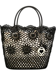 Twin Set Crochet Tote Black