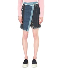 Steve J And Yoni P Buttoned Wrap Denim Skirt Dark Blue Patwork