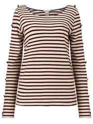 Maison Scotch Long Sleeve Breton T Shirt Red White