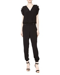 Fade To Blue Crepe And Faux Leather Jumpsuit 001 Blac